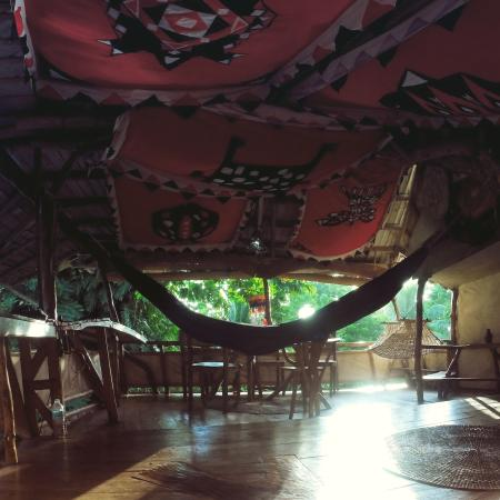 Enigmata Treehouse Ecolodge: The living room. That's my own hammock :) But it has its own hammock in the back of the photo. C