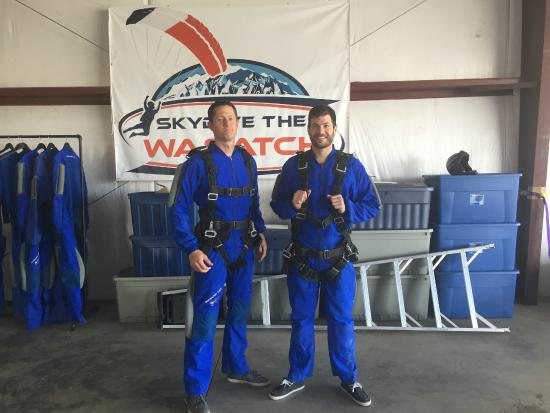 Skydive The Wasatch: My husband and his brother getting ready for the big dive!