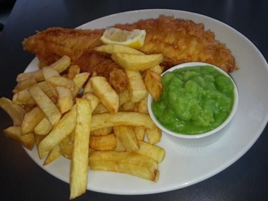 haddock chips with added side of peas