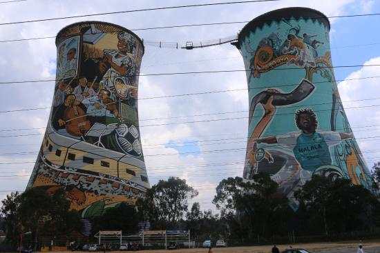 South Western Townships: Famous cooling tower art in Soweto