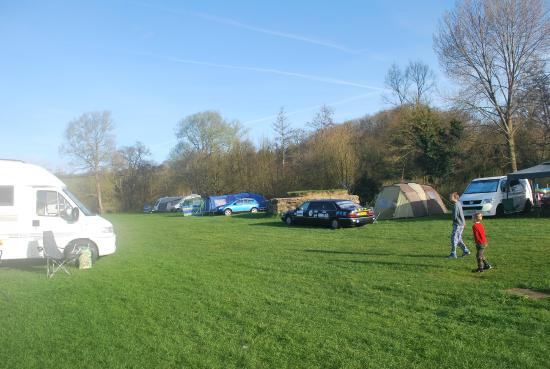 Stowford Mill Bed and Breakfast: Main field with Pillbox