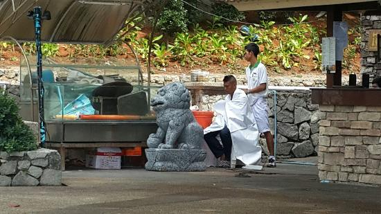 Diamond Cliff Resort and Spa: Staff member getting a haircut in the beach pool WTH?