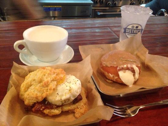 District Donuts.Sliders.Brew: Bacon egg biscuit, Cuba libre donut and chai