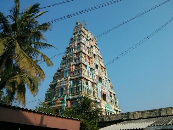 Thanjavur, India: The temple Gopuram...