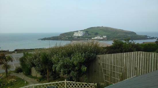The amazing view out of my room at Summer Winds B&B looking over to Burgh Island