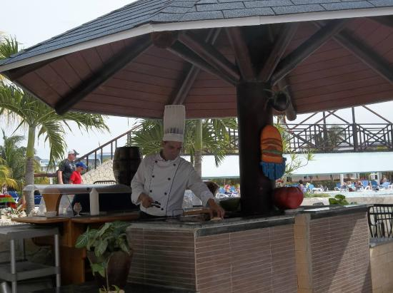 Burger grill beside the pool bar