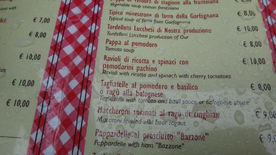 Nero di Seppia : Table menu