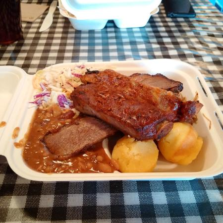 Smokewood BBQ: BBQ Box with ribs, beef brisket, pulled pork, coleslaw, & corn bread