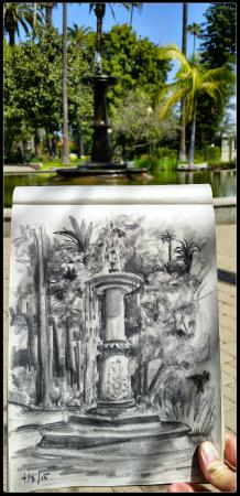 Beverly Hills, Kalifornien: 4/3/15 Drawing at the fountain. Come over, say hello!