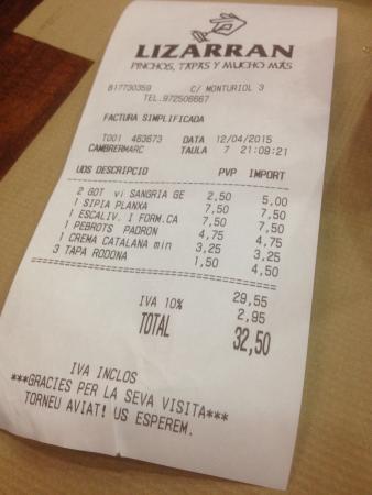 LIZARRAN Figueres : Très honnête pour un délicieux repas pour deux personnes