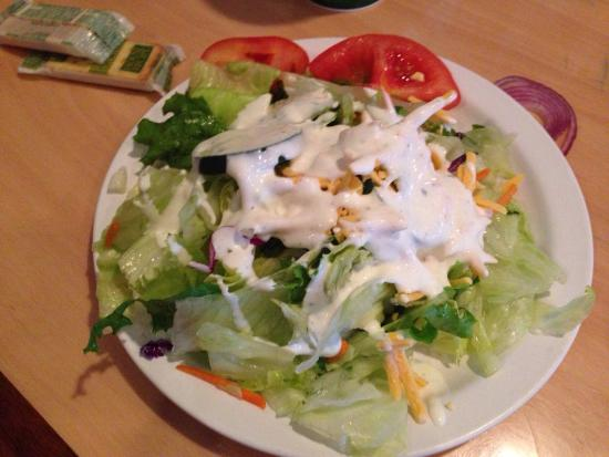Gondola Restaurant: Side tossed salad fills the 8 inch plate. Cheese is not usually included. Homemade ranch dressin
