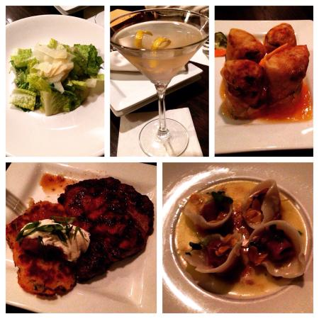 Moonstones: Caesar salad, beet ravioli, chicken spring rolls, ribeye steak, moonshine cocktail
