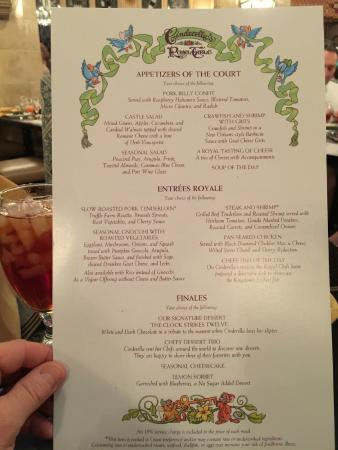 Menu picture of cinderella 39 s royal table orlando for Table menu restaurant