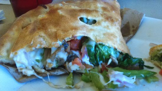 Carmelo's Pizza Pasta & More: Veggie Calzone w/ bright, not over-cooked veggies