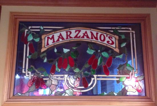 Marzano's Pizza Pie: The stain glass at the front door.