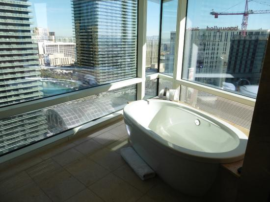 ARIA Resort & Casino: View from the bathroom.