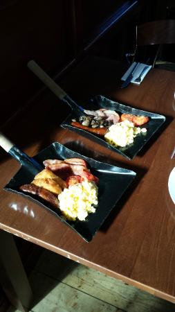 The Tickethall : Breakfast served on firemen's spades!