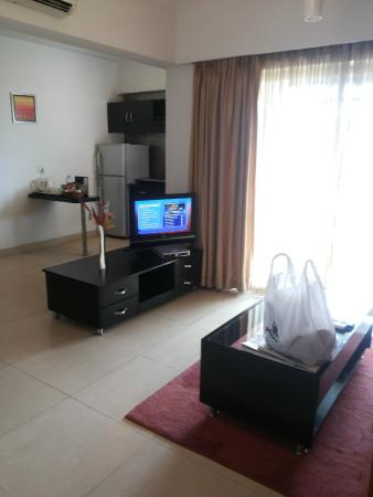 Royal Orchid Golden Suites : This is in front of the sofa, attached kitchen