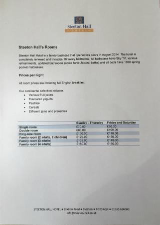 Steeton Hall Hotel: room rates