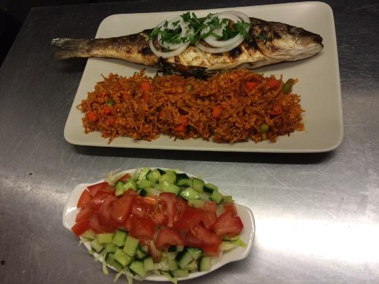 Levrek grilled seabass with rice and salad picture of for Akdeniz turkish cuisine