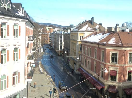 Cochs Pensjonat : View from the room. Street car outside, convenient transportation