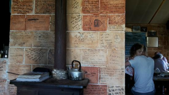 Hook, Line and Sinker: Interior view with messages on the tiles