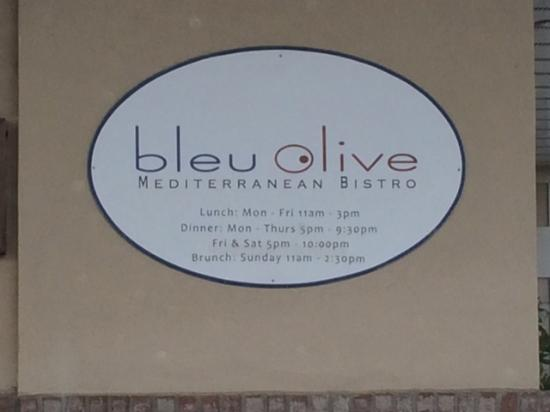 Bleu Olive : Entrance Sign