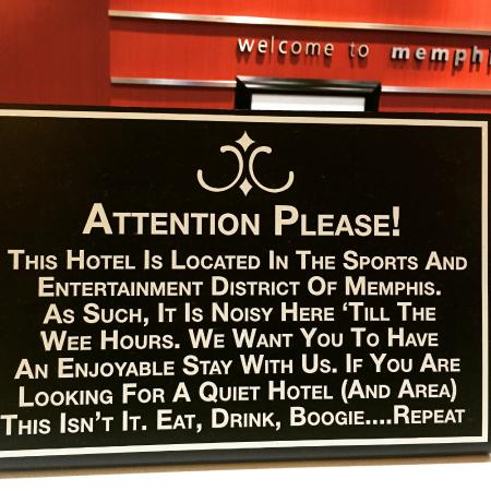Hampton Inn & Suites Memphis - Beale Street: Sign at front desk