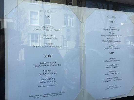 The Ledbury: A full list of the Lunch Menu on the day! Wife had White Beetroot but I didn't take a picture!