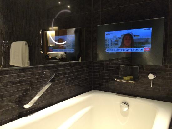 tv in bathroom. hotel icon: bathroom tv tv in p