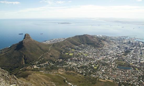 Dolphin Inn Guesthouse, Mouille Point: View from Table Mountain towards Cape Town Stadium.