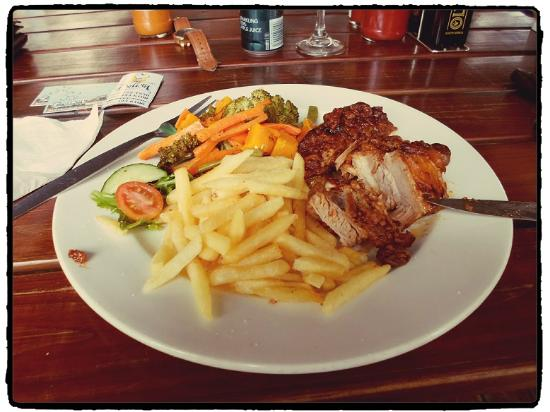 Delish Heidelberg South Africa: Pork belly with a curry ginger taste (slowly cooked for four hours according to the cook!) was j