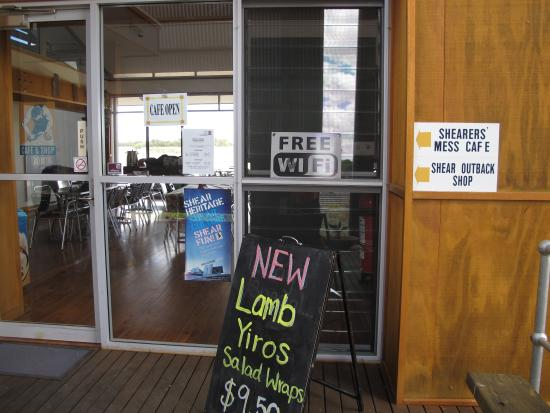Shear Outback: entrance door says free wifi