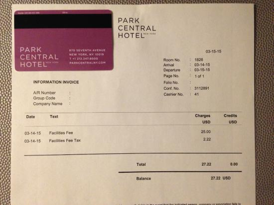 "Park Central Hotel New York: Extra charge for ""facilities fee"""