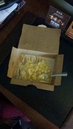 Ariccia Trattoria : Mac-n-cheese without cheese exactly in the box. They never heard about plates.
