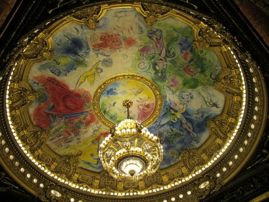 París, Francia: 吊燈with 夏卡爾的壁畫