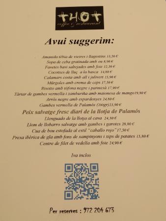 SUGERENCIAS DIARIAS - Restaurant THOT (Girona)