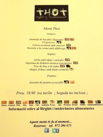 MENÚ DIARIO - Restaurant THOT (Girona)