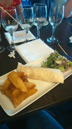 Heywood Spa Hotel: Chicken wrap and chips