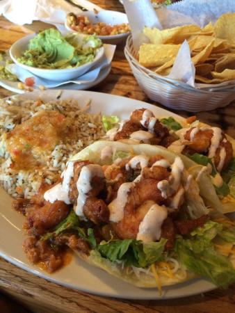 cabo fish taco: Buffalo shrimp taco. Separate order of guacamole