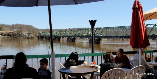 The Landing Restaurant Patio With Bridge Over Delaware River