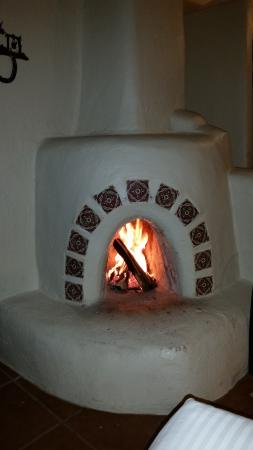 love the fireplace in the room!