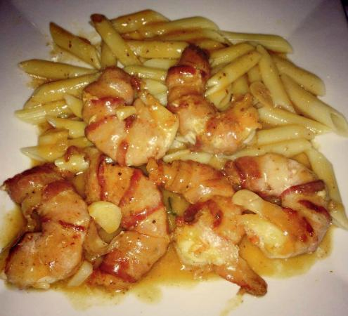 Via Appia : Bacon Wrapped Shrimps with Penne Pasta in a Garlic and White Wine Sauce