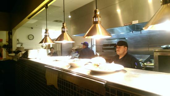 Open kitchen at Bleu Olive Bistro
