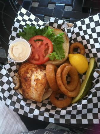 Loose Caboose Restaurant: Cajun grouper sandwich and onion rings