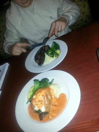 Sandstone Grillhouse: 16 oz Steak and Red pepper, goat cheese chicken