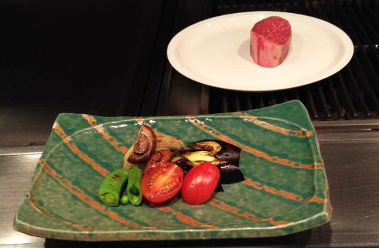 Sazanka: cooked vegies plus the fillet in waiting