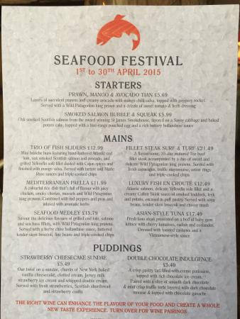 Prince of Wales : The Seafood Special Menu but book early as the Prawns might run out