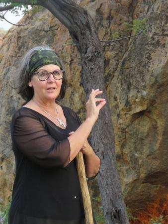 Mopane Bush Lodge: Coba is an amazing teacher and field guide. A unique experience to be with her in the caves.