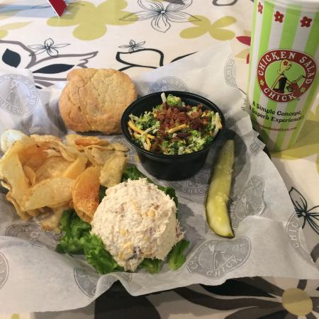 Chicken Salad Chick: Sassy Scotty and Broccoli Salad with chips, cookie and a drink!